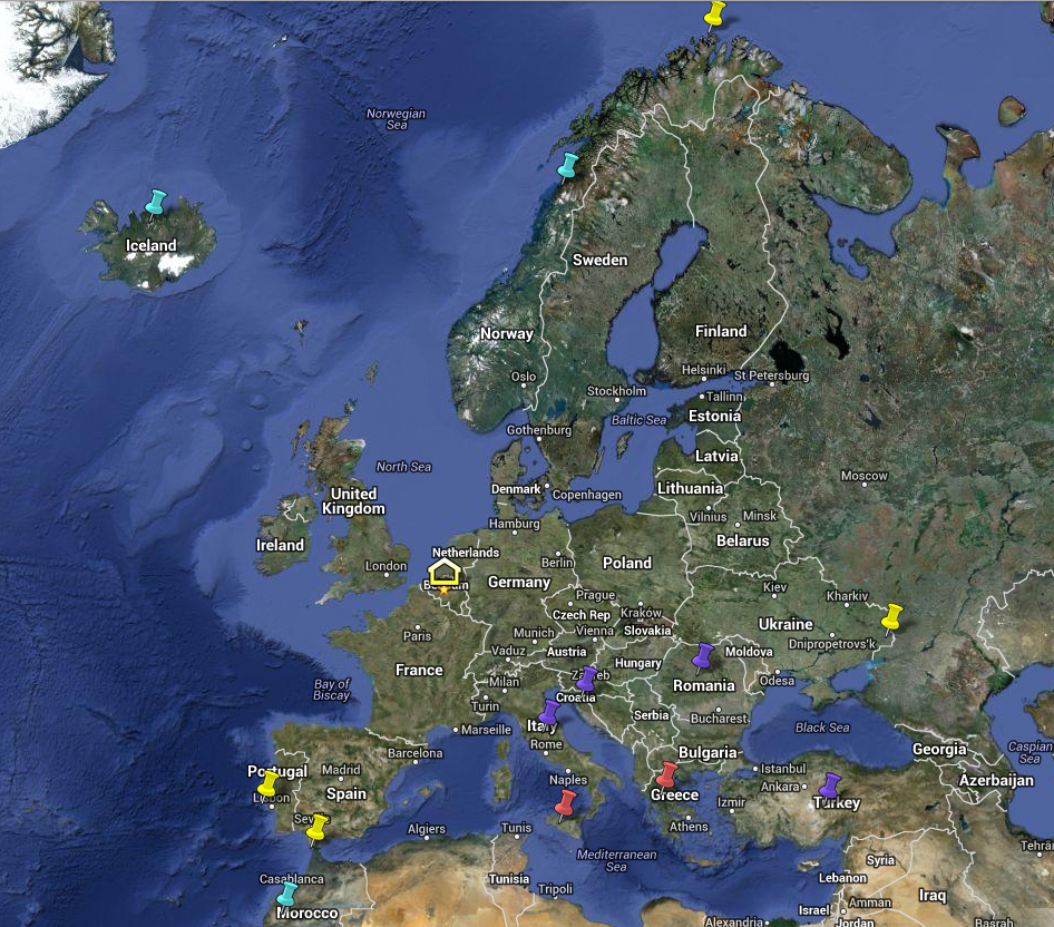 Top 5 destinations in Europe map