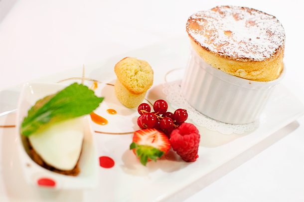 Lemon soufflé with ice-cream and red fruits. This has made Alison reconsider her stance on soufflés.
