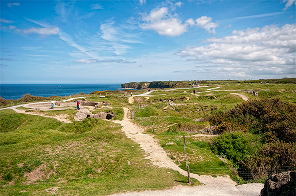 Looking our over the craters at Pointe du Hoc, Normany, France