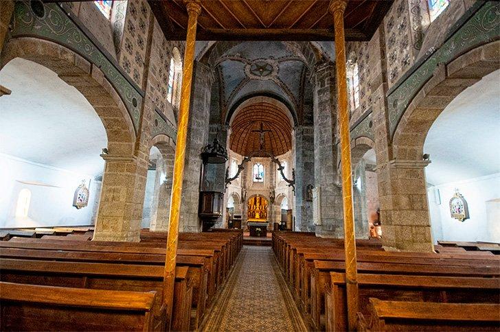 Inside the little church in Barfleur, France