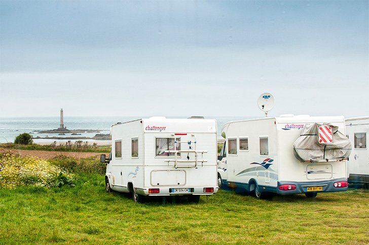 Parked for lunch at Phare du Cap de la Hague, Normandy, France