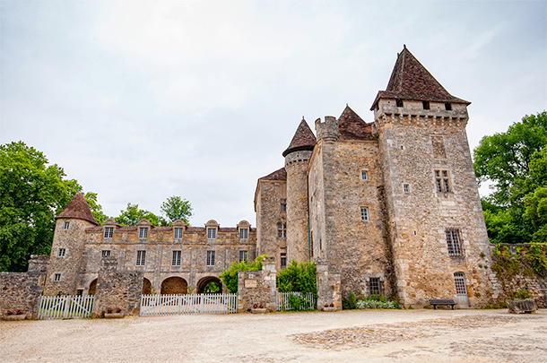 Chateau de la Mathonie in St Jean de Cole in the Dordogne departement of France. One of Les Plus Beaux Villages de France