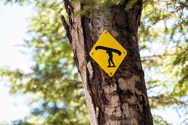 We couldn't help thinking the trail markers for the Portage Trail look like Mr. Canoehead