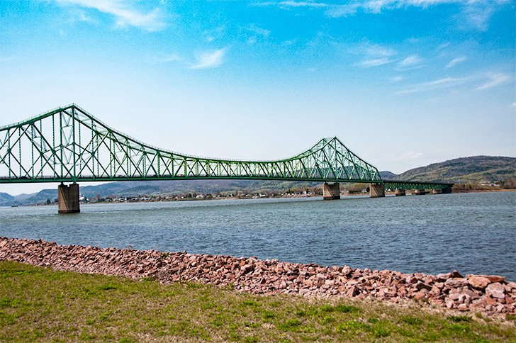 The bridge joining Campbellton, NB with Quebec's Gaspe Peninsula
